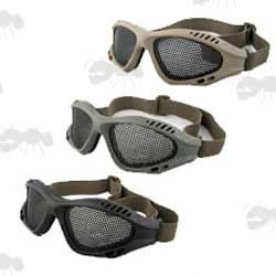 Black, Green and Tan Coloured TMC Low Profile Perforated Steel Airsoft Goggles