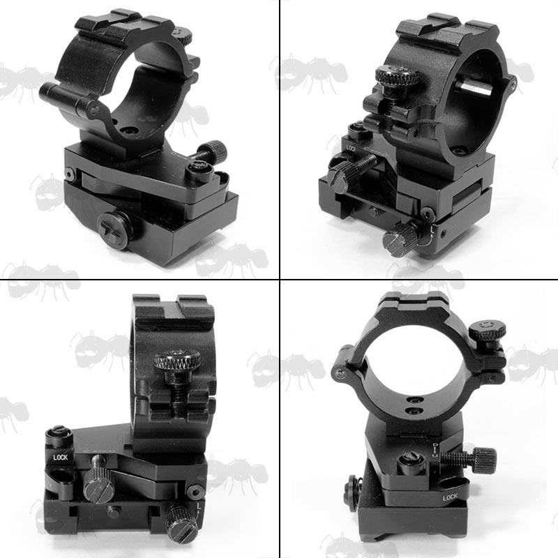 Left, Right, Rear and Front View of The Weaver / Picatinny Rail Fitting Adjustable Elevation and Windage Laser Mount with Locking Feature