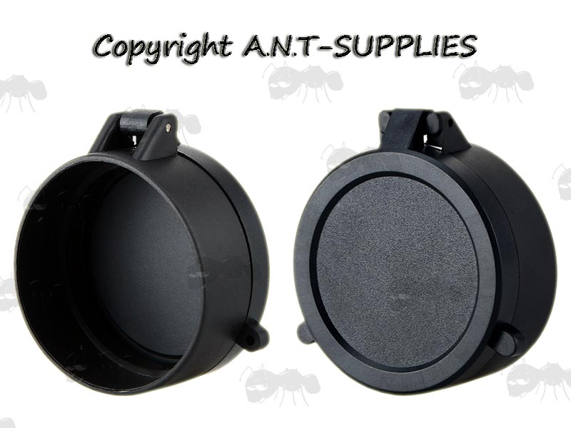 Front and Inner View of AnTac Black Flip-Up Rifle Scope Lens Covers