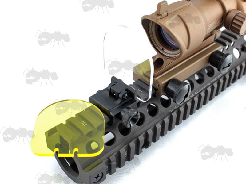 Black Rail Mount with Clear and Spare Amber Screen Sight Lens Protector Shield with ACOG Scope