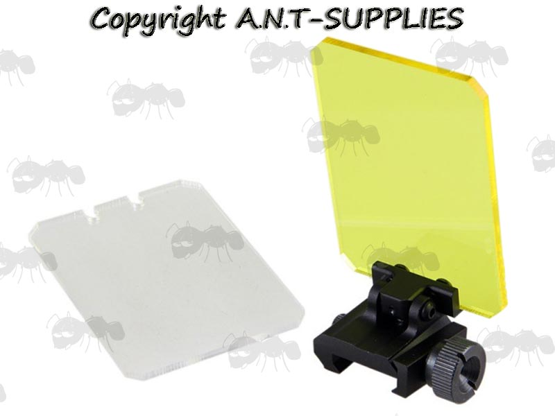 Black Rail Mount with Rectangular Clear Screen Sight Lens Protector Shield and Spare Amber Lens