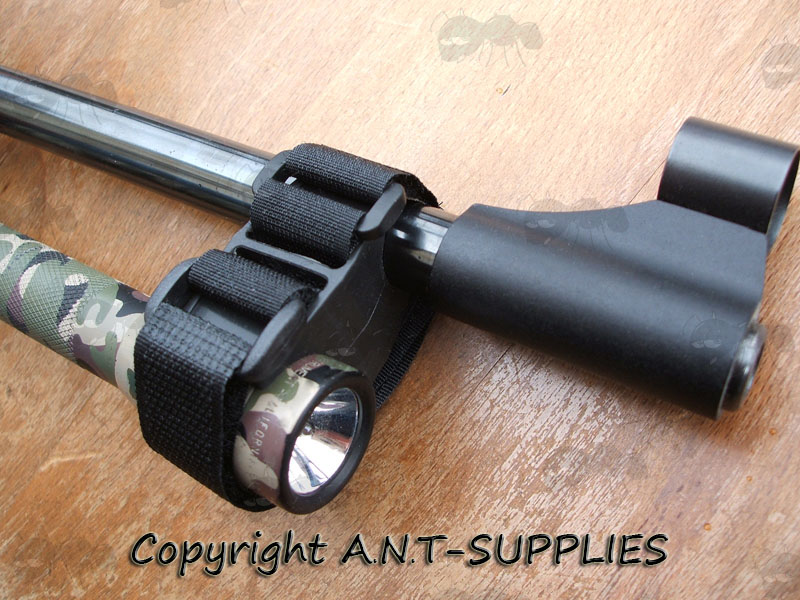 Universal Inline Rubber Block and Velcro Strap Mount Fitted to Airgun Barrel