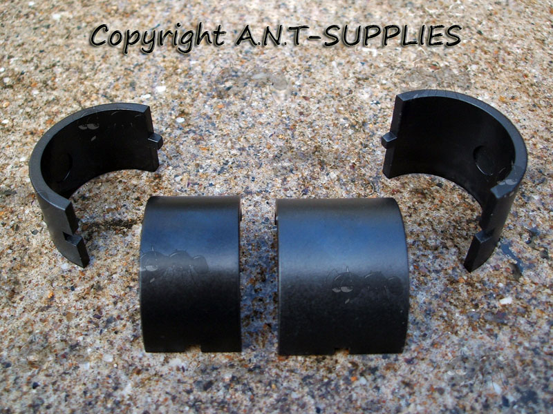Narrow and Wide Plastic 30mm to 25mm Scope Ring Size Adapters for Double Clamped Wide Mounts