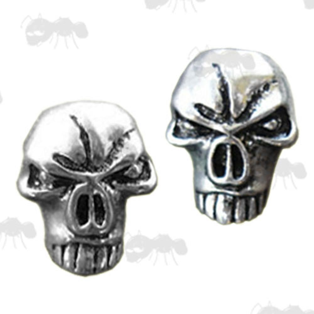 Two Silver Coloured Skull Beads with Top Holes