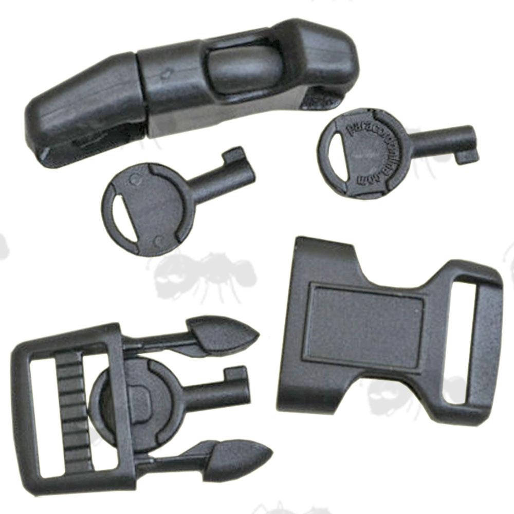Pair Of Black Plastic Buckles With Handcuff Keys