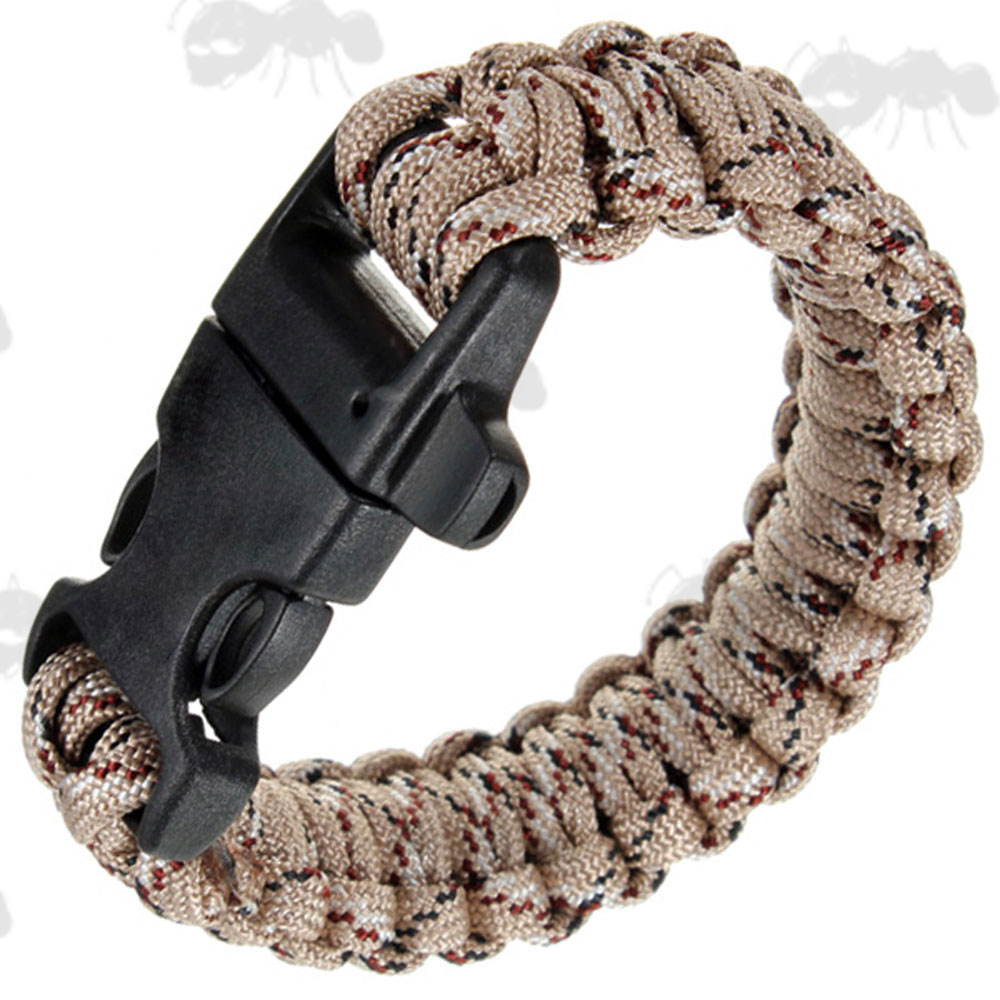 Desert Camouflage Paracord Survival Bracelet With Emergency Whistle Qr  Buckle
