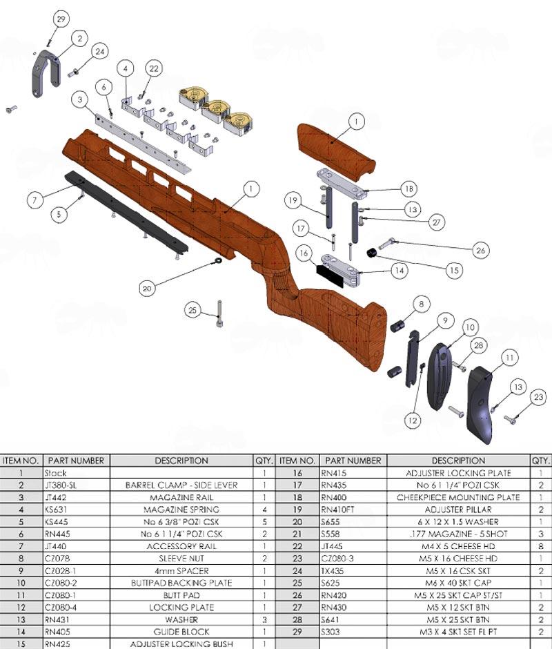 Air Arms Accessory Rail - Anschutz Euro UIT Rails Bipod