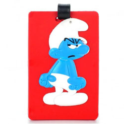 Red Luggage Tag with Grouchy Smurf